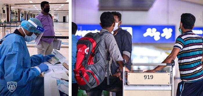 মালদ্বীপের ভেলেনা আন্তর্জাতিক বিমানবন্দরে নানা প্রকি্রয়া সম্পন্ন করছেন প্রবাসী বাংলাদেশিরা