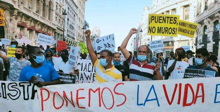 স্পেনে বৈধতার দাবিতে বাংলাদেশিসহ অবৈধ অভিবাসী মহাসমাবেশ
